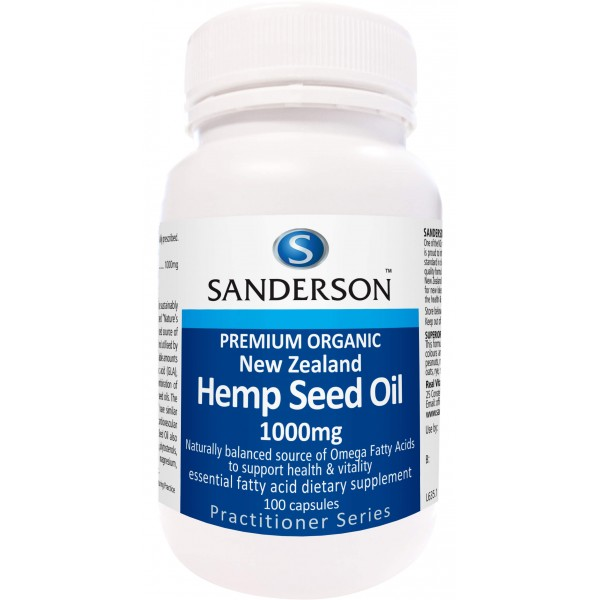 Sanderson Certified Organic NZ Hemp Seed Oil 1000mg 100 Capsules