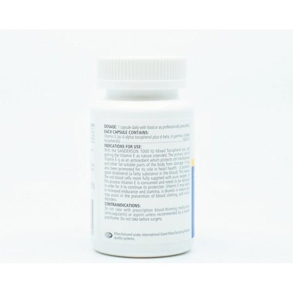 Sanderson Superior Organic Vitamin E 1000iu 60 Capsules