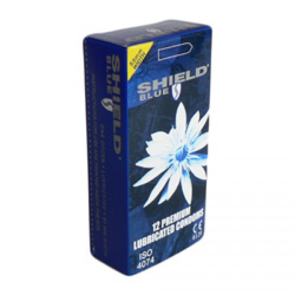 Shield Blue Condoms 53mm Width 12 Pk