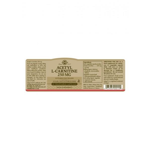 Solgar Acetyl L-Carnitine 250mg Capsules