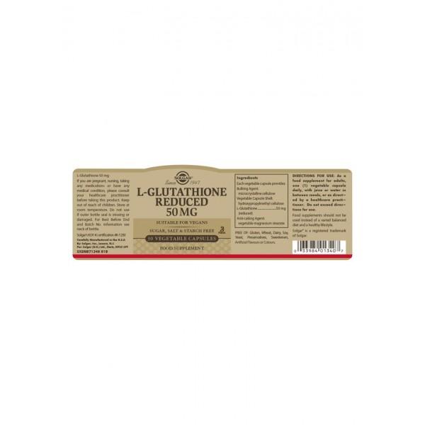 Solgar L-Glutathione Reduced 50mg Capsules