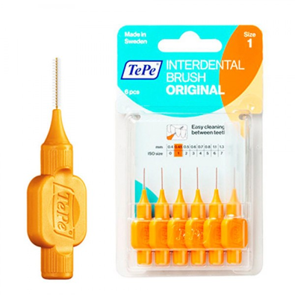 TePe Interdental Toothbrushes - Size 1 Orange (6 brushes per pack)
