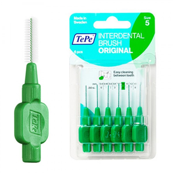 TePe Interdental Toothbrushes - Size 5 Green (6 brushes per pack)