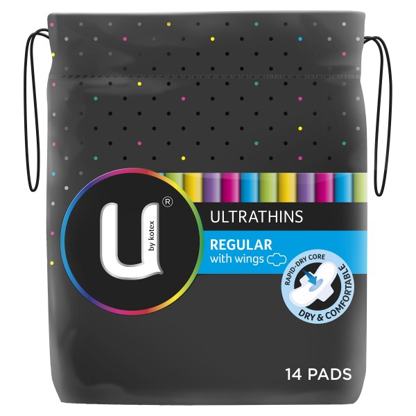 U By Kotex Ultrathins Pads Regular Wings 14pk